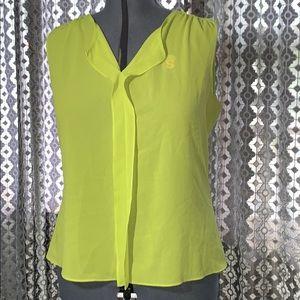 Sheer Neon Green Sleeveless Blouse